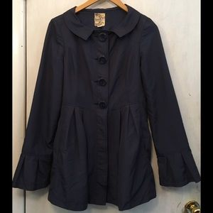 Anthropologie Tulle navy trench coat